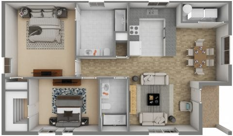 2 Bed / 2 Bath / 917 ft² / Deposit: $300 / Rent: $640