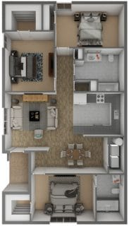 3 Bed / 2 Bath / 1147 ft² / Deposit: $300 / Rent: $730